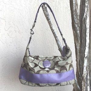 COACH Brown Monogram Canvas Purple Stripe Hobo Bag